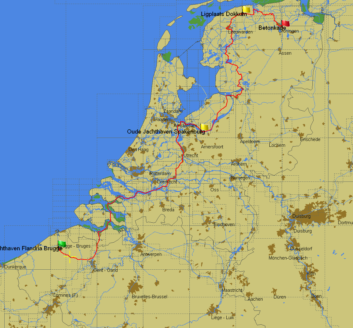 Groningen (NL) to Brugge (BE) - tourist route by PC Navigo
