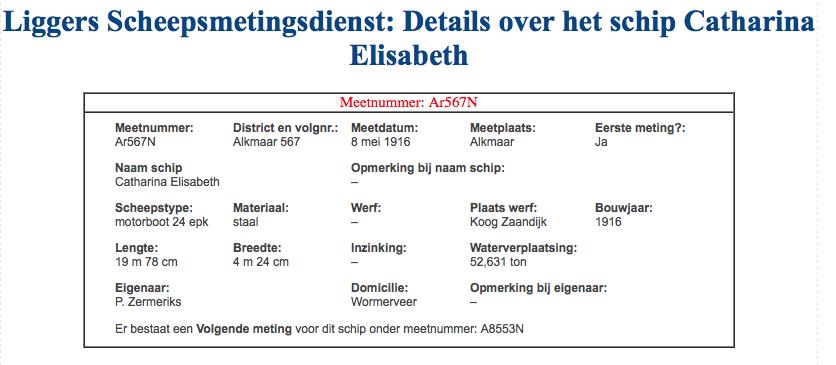 First Measurement of Catharina Elisabeth