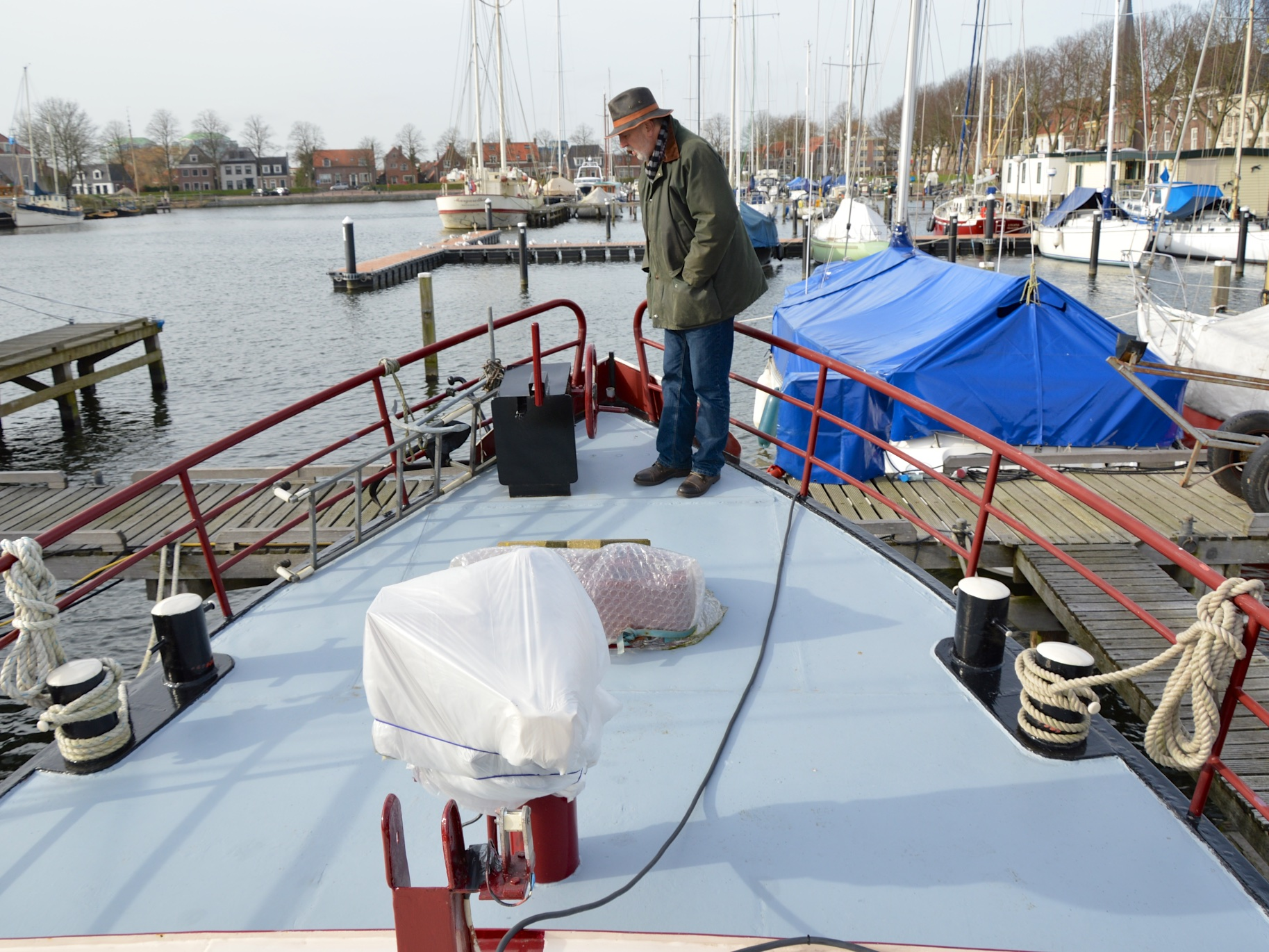 Michel in the depths of winter inspecting 'Neo Vita'