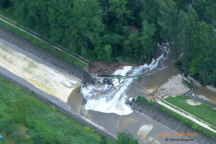 The breach in the Briare canal near Montages in June. Out of action until at least mid-August