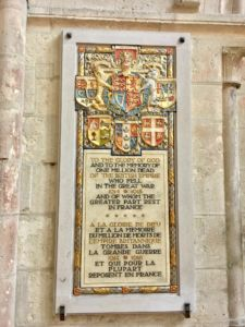 Remembrance of the Great War - commonly seen in churches in N France.