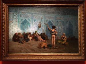 One of the strikingly detailed oriental paintings - Jean-Léon Gérôme 'The Snake Charmer'.