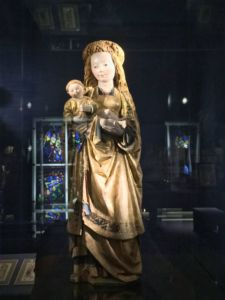 Wood sculpture of the Virgin and Infant Jesus from the 15th Century.