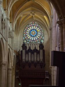 The organ and rose window.