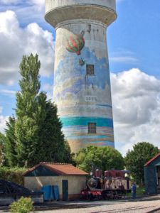 Illustrated water tower.